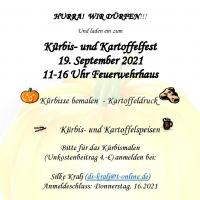 Kürbis- und Kartoffelfest 2021, 19.09.2021, 11-16 Uhr, am Feuerwehrhaus, SPD Seukendorf Hiltmannsdorf